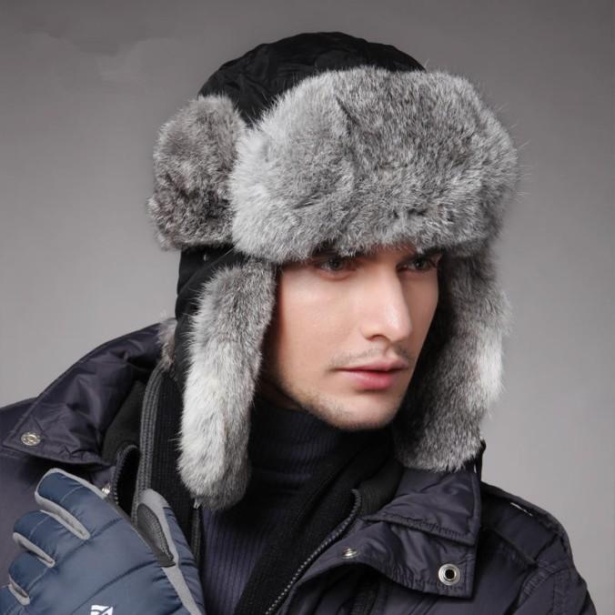 New-Winter-Men-Hats-Caps-Black-Wind-Water-Proof-Earflap-Trapper-Hat-100-Rabbit-Fur-Russia